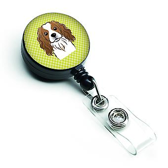 Checkerboard Lime Green Cavalier Spaniel Retractable Badge Reel
