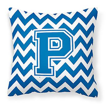 Letter P Chevron Blue and White Fabric Decorative Pillow