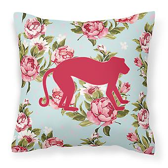 Monkey Shabby Chic Blue Roses   Canvas Fabric Decorative Pillow BB1128