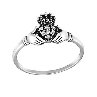 Claddagh - 925 Sterling Silver + Cubic Zirconia Jewelled ringar