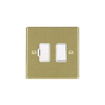 Hamilton Litestat Hartland Satin Brass 1g 13A DP Fused Spur WH/WH