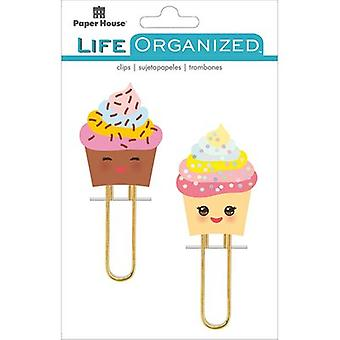 Paper House Life Organized Puffy Clips 2/Pkg-Kawaii Cupcakes PLPC006E