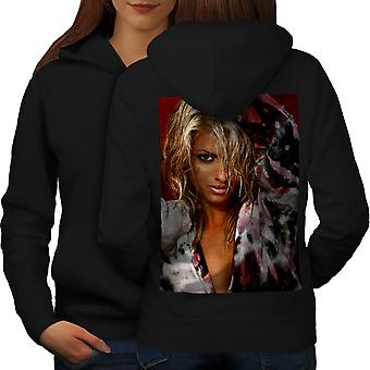 Blond Hot Girl Adult Women BlackHoodie Back | Wellcoda