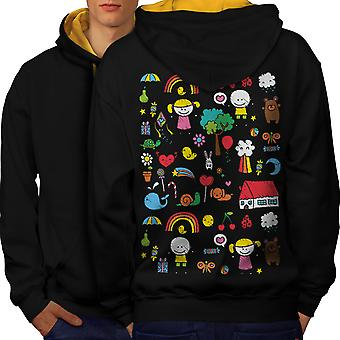 Cute Colorful Men Black (Gold Hood)Contrast Hoodie Back | Wellcoda