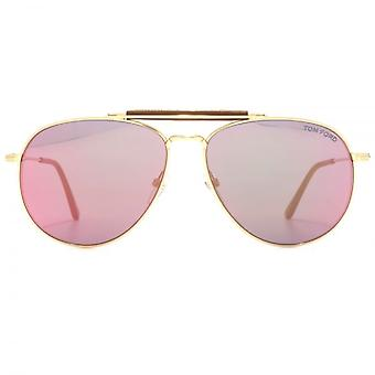 Tom Ford Sean Sunglasses In Shiny Rose Gold Pink
