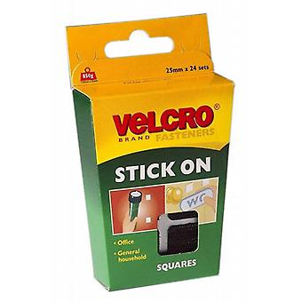 Pack of 24 VELCRO® Black 25mm Stick On Squares(60236) From Caraselle