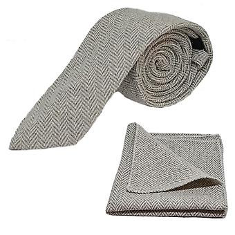 Silver Grey & Cream Herringbone Tie & Pocket Square Set