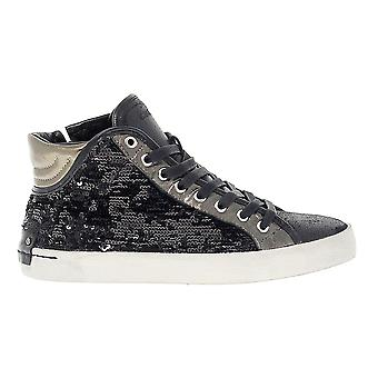 Crime London women's 25041A1720 black leather Hi Top sneakers
