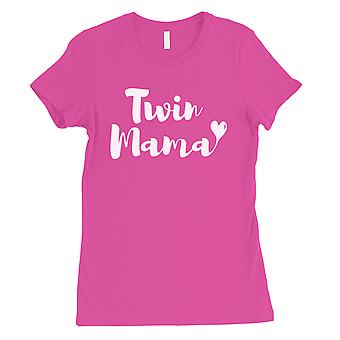 Twin Mama Womens Hot Pink Short Sleeve Shirt Funny Mothers Day Tee