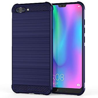Huawei Honor 10 Carbon Anti höst TPU väska - blå