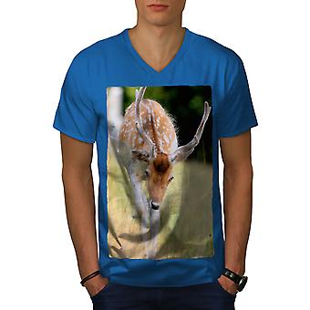 Deer Wild Cute Animal Men Royal BlueV-Neck T-shirt | Wellcoda