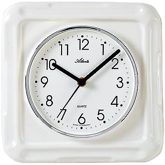 Atlanta 6009 kitchen clock wall clock kitchen quartz analog ceramic watch white ceramic square
