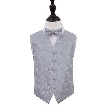 Zilveren Paisley bruiloft gilet & strikje Set voor jongens