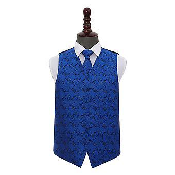 Royal Blue Paisley bruiloft gilet & stropdas Set