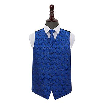 Royal Blue Paisley bröllop väst & slips Set