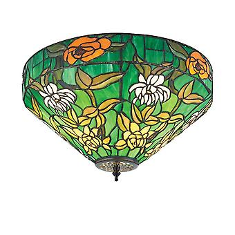 Interiors 1900 Agapantha Green Tiffany Glass Ceiling Lamp