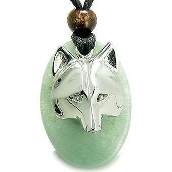 Amulet ProtectiWise Wolf maske lykke krefter grønn Aventurine Charm anheng halskjede