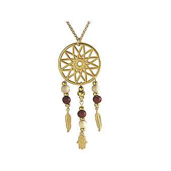 Gemshine - colar - apanhador de sonhos - ouro chapeado - Primavera - Fátima - Hamsa - 75 cm