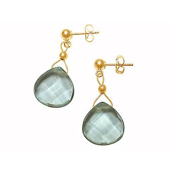 Gemshine - ladies - earrings - gold plated - aquamarine quartz - dripping - faceted - blue - 2 cm