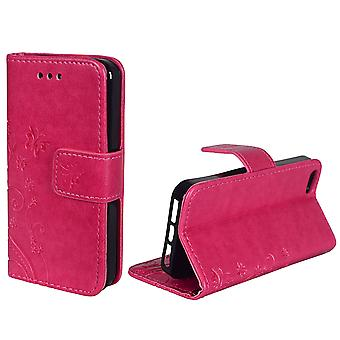Protective cover flowers for phone Apple iPhone 5 / 5s / SE pink