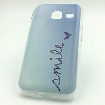 Handy Hülle für Samsung Galaxy J1 Mini Smile Blau Tasche Case Cover Motiv Slim
