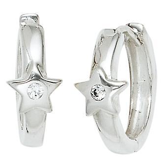 925 sterling silver rhodium plated 2 cubic zirconia girl earrings hoops star children
