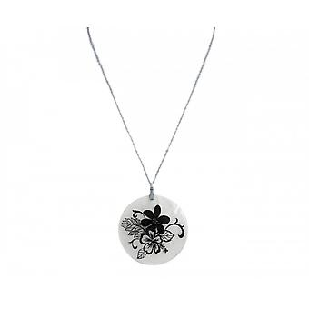 Necklace - pendant - Locket - Flower Bouquet - 925 Silver - Black - 5 cm