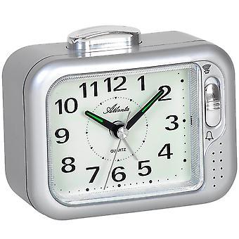 Atlanta 1942/19 alarm clock quartz analog silver Bell or beep tone