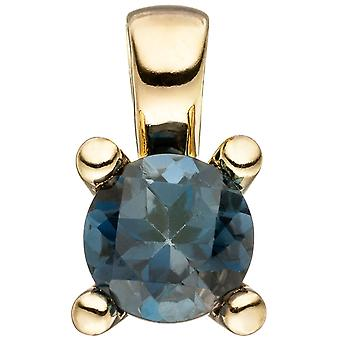 Trailer 585 gold yellow gold Blue 1 Blue Topaz gold pendant