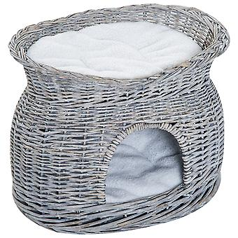 PawHut 2-Tier Elevated Pet Cushion Bed Basket Willow Cat Tree House Condo Kennel Handmade Washable