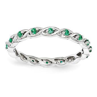 2,5 mm argent Sterling poli à alvéoles ensemble rhodiée empilable Expressions créée Emerald Ring - anneau taille: 5 à 10
