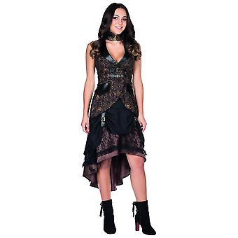 Steampunk rock Brown dial ladies print on Carnival costume dress