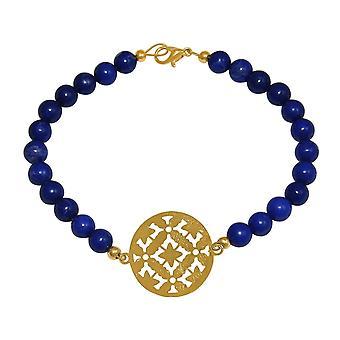 GEMSHINE ladies Bracelet: Yoga mandala e gemme giada blu. Catcher fatto di argento, oro placcato o placcato oro rosa. Made in Monaco di Baviera, Germania. Consegnato in un'elegante custodia con confezione regalo.