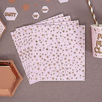 Pink and Rose Gold Foil Star Paper Napkins Birthday / Party x 16