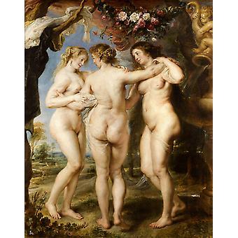 Las tres gracias, Peter Paul Rubens, 50x40cm