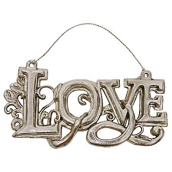 Ornate Love Antiqued Silver Christmas Holiday Ornament
