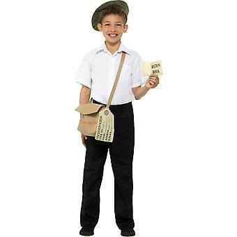 Evacuee Instant Kit Brown with Hat Bag & Ration Book,Boys Fancy Dress