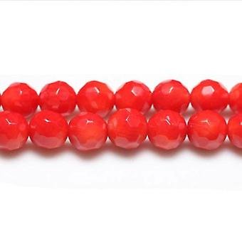 Strand 45+ Red Coral 7-8mm Faceted Round Beads CB26210-4