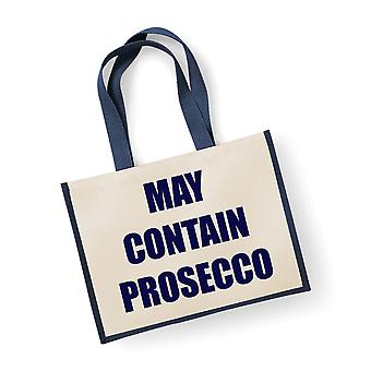 Large Navy Jute Bag May Contain Prosecco