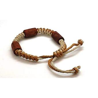 The Olivia Collection Tribal Brown & Beige Cotton, Wooden Bead Bracelet