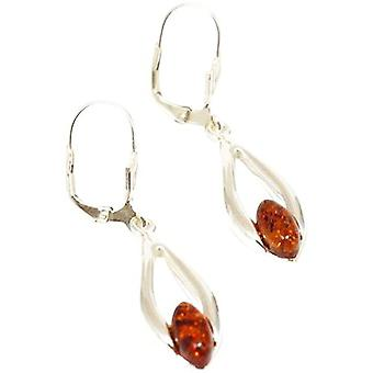 925 Silver Tear Drop Shaped Amber Earrings By TOC