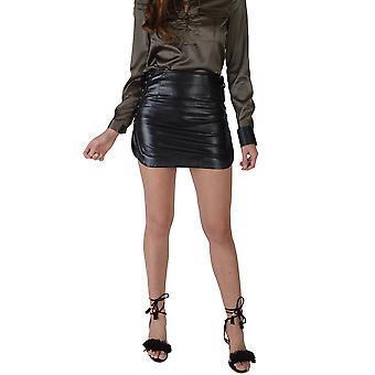 Lovemystyle Black Faux Leather Skirt With Lace Up Detail