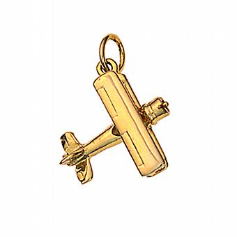 9ct Gold 16x18mm Bi Plane Pendant or Charm