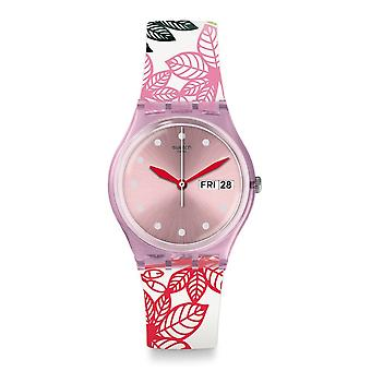 Swatch Gp702 Summer Leaves Pink & Multi Colour Silicone Watch