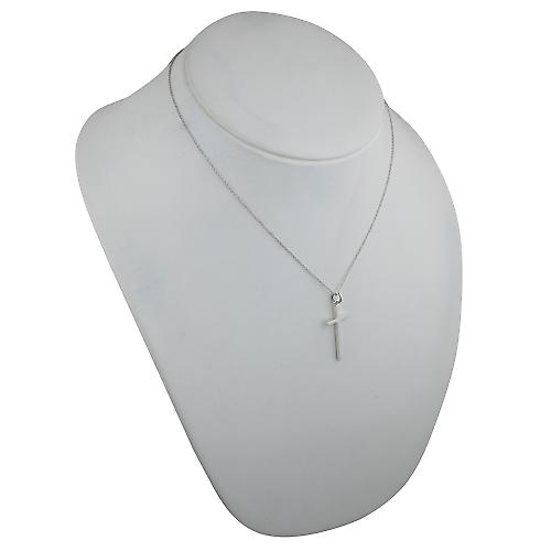 Silver 31x16mm plain solid block Cross with a rolo Chain 18 inches