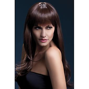Fever Sienna Wig, Brown, Long Feathered with Fringe, 66cm / 26in Fancy Dress Accessory