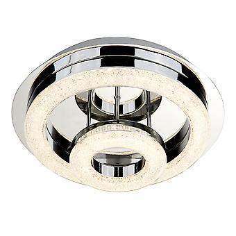 Polo Chrome og knust is glas to lys LED Flush montering - projektør 9109-28CC