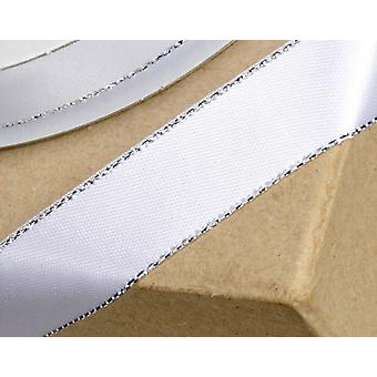 15mm White Satin Ribbon with Silver Sparkle Edge - 25m Long