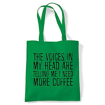 Voices In My Head Need More Coffee Tote | Reusable Shopping Cotton Canvas Long Handled Natural Shopper Eco-Friendly Fashion | Gym Book Bag Birthday Present Gift | Multiple Colours Available