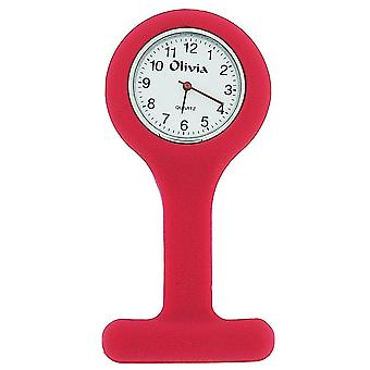 Olivia Collection Hot Pink Unisex Rubber Infection Control Nurse Fob Watch TOC68